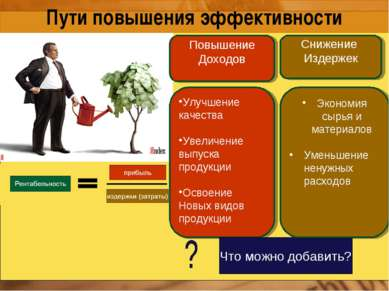 Пути повышения эффективности Улучшение качества Увеличение выпуска продукции ...