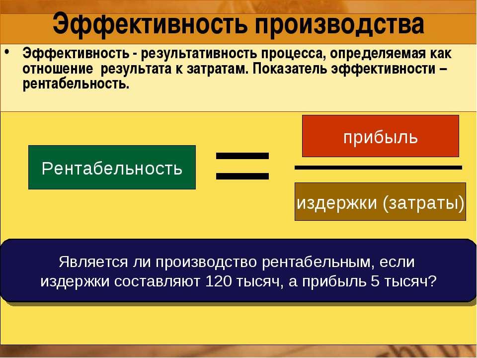 Эффективность производства Эффективность - результативность процесса, определ...