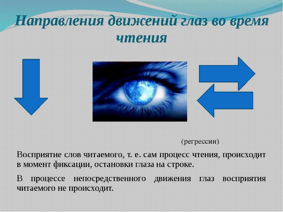 Направления движений глаз во время чтения (регрессии) Восприятие слов читаемо...