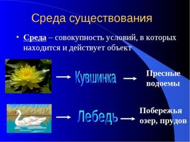 Среда существования Среда – совокупность условий, в которых находится и дейст...