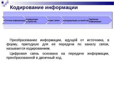 Кодирование информации Преобразование информации, идущей от источника, в форм...