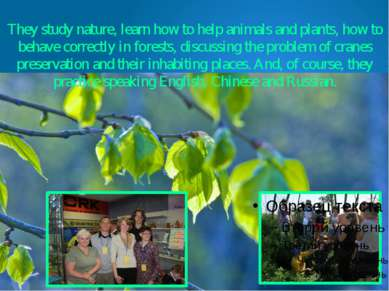 They study nature, learn how to help animals and plants, how to behave correc...