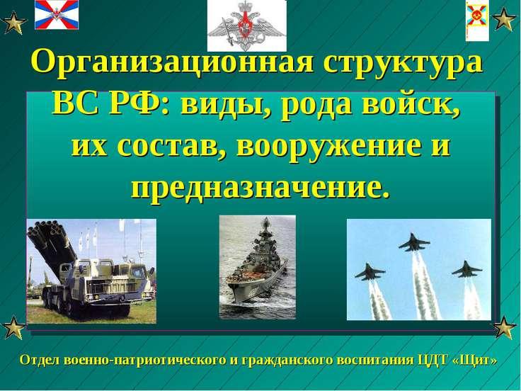 Организационная структура ВС РФ: виды, рода войск, их состав, вооружение и пр...
