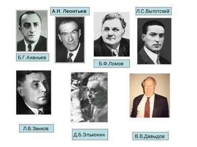 Б.Ф.Ломов Б.Г.Ананьев А.Н.Леонтьев Л.С.Выготский Л.В.Занков Д.Б.Эльконин В....