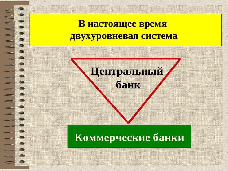 В настоящее время двухуровневая система Центральный банк Коммерческие банки
