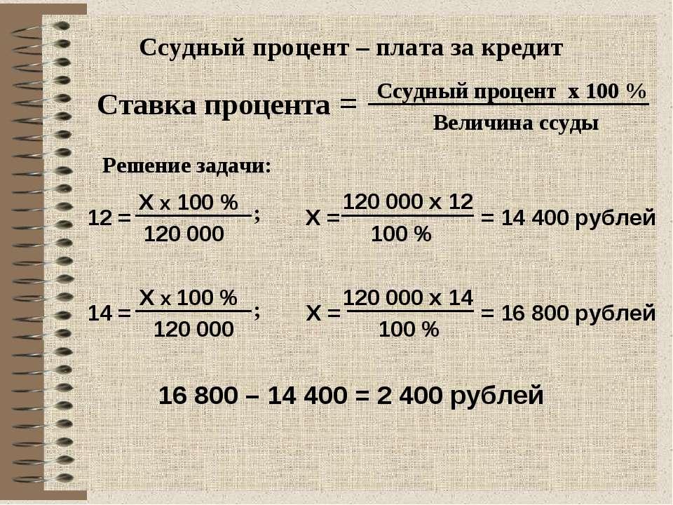 Ссудный процент – плата за кредит Ставка процента = Ссудный процент х 100 % В...