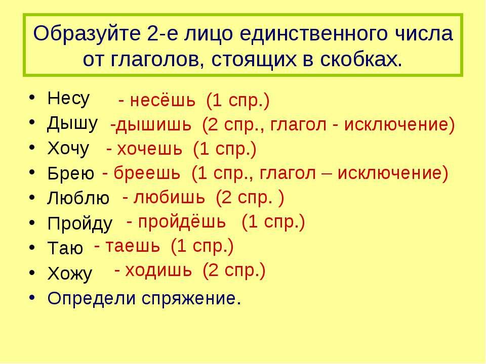 Образуйте 2-е лицо единственного числа от глаголов, стоящих в скобках. Несу Д...