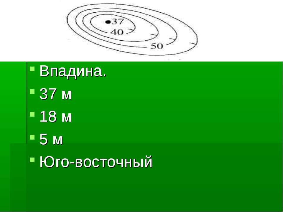 Впадина. 37 м 18 м 5 м Юго-восточный