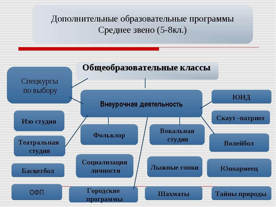 Дополнительные образовательные программы Среднее звено (5-8кл.) Общеобразоват...