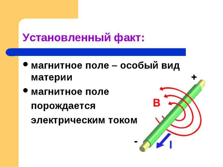 Установленный факт: магнитное поле – особый вид материи магнитное поле порожд...