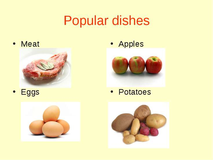 Popular dishes Meat Eggs Apples Potatoes