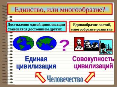 Единство, или многообразие? Единообразие-застой, многообразие-развитие Достиж...