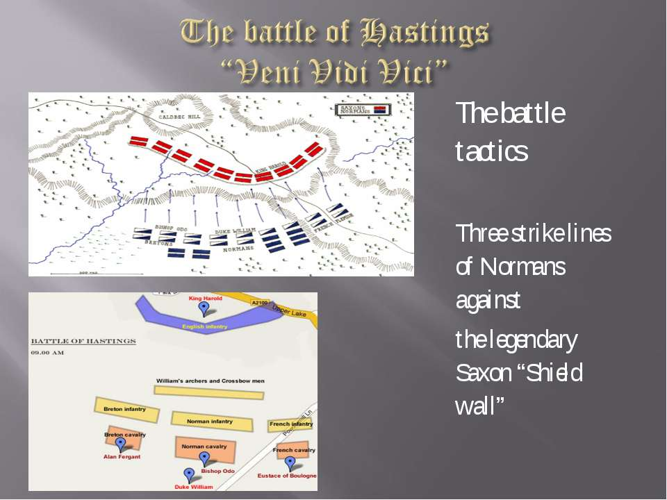 The battle tactics Three strike lines of Normans against the legendary Saxon ...