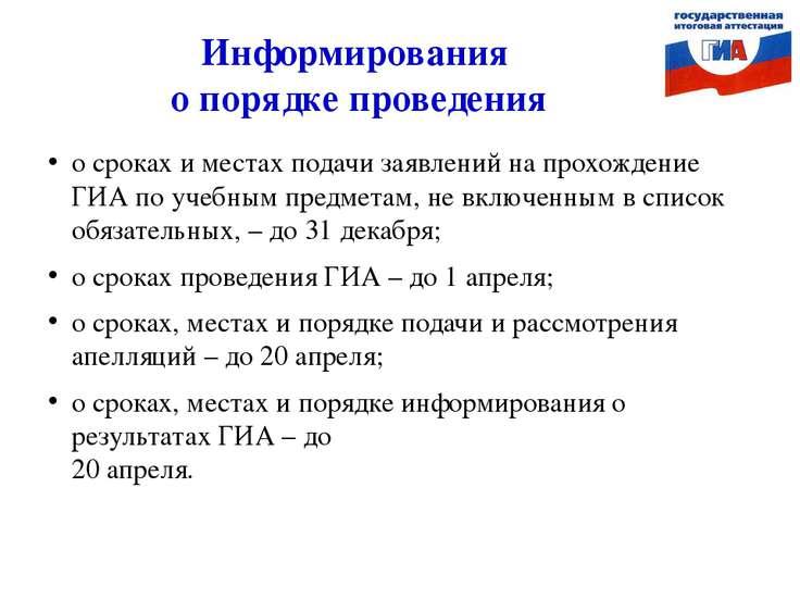 Информирования о порядке проведения о сроках и местах подачи заявлений на про...