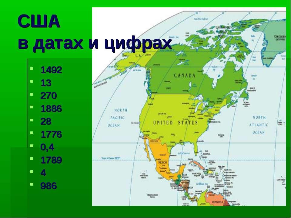 США в датах и цифрах 1492 13 270 1886 28 1776 0,4 1789 4 986