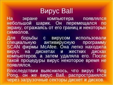 Вирус Ball На экране компьютера появлялся небольшой шарик. Он перемещался по ...