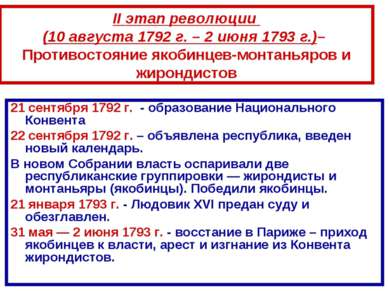 21 сентября 1792 г. - образование Национального Конвента 21 сентября 1792 г. ...