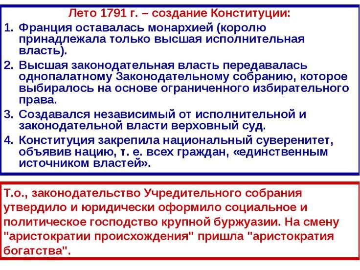 Лето 1791 г. – создание Конституции: Лето 1791 г. – создание Конституции: Фра...