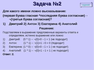 Задача №2 Для какого имени ложно высказывание: (первая буква гласная ^последн...