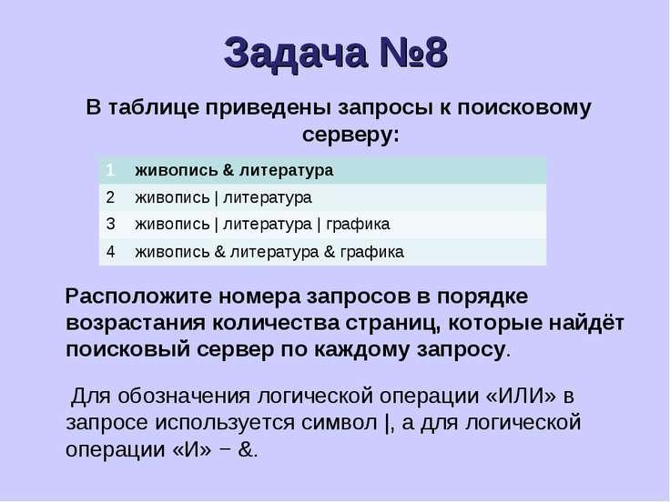 Задача №8 В таблице приведены запросы к поисковому серверу: Расположите номер...