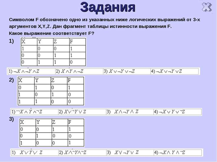 Задания Символом F обозначено одно из указанных ниже логических выражений от ...
