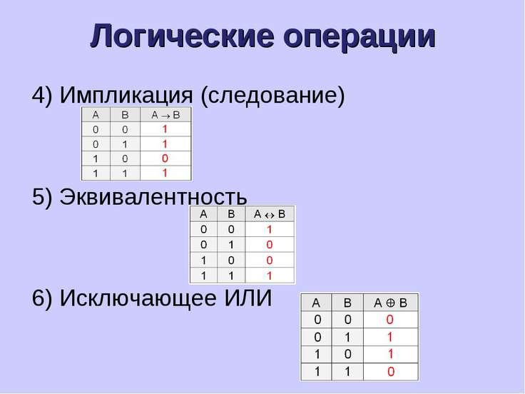 Логические операции 4) Импликация (следование) 5) Эквивалентность 6) Исключаю...