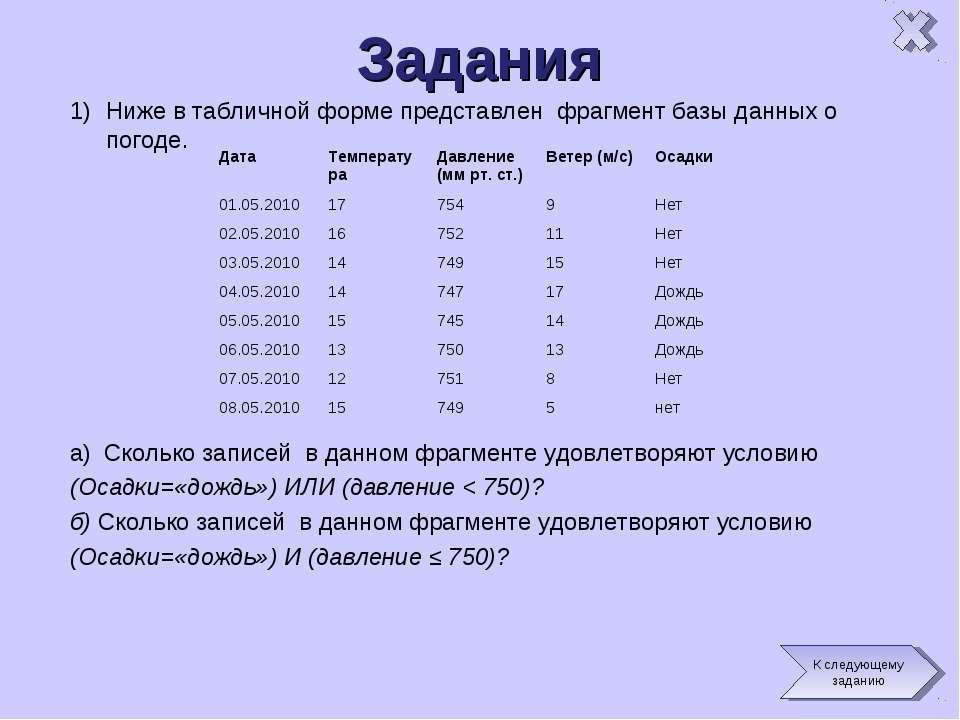 Задания Ниже в табличной форме представлен фрагмент базы данных о погоде. a) ...