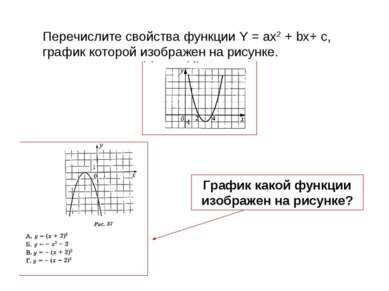 Перечислите свойства функции Y = ax2 + bx+ c, график которой изображен на рис...