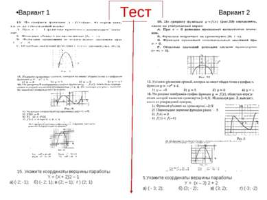Тест 15. Укажите координаты вершины параболы Y = (X + 2)2 – 1 а) (-2; -1); б)...