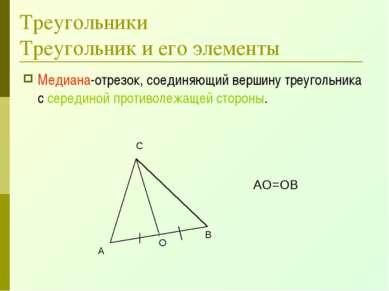 Треугольники Треугольник и его элементы Медиана-отрезок, соединяющий вершину ...