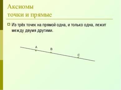 Аксиомы точки и прямые Из трёх точек на прямой одна, и только одна, лежит меж...