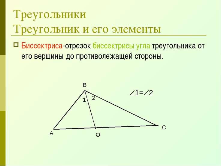 Треугольники Треугольник и его элементы Биссектриса-отрезок биссектрисы угла ...