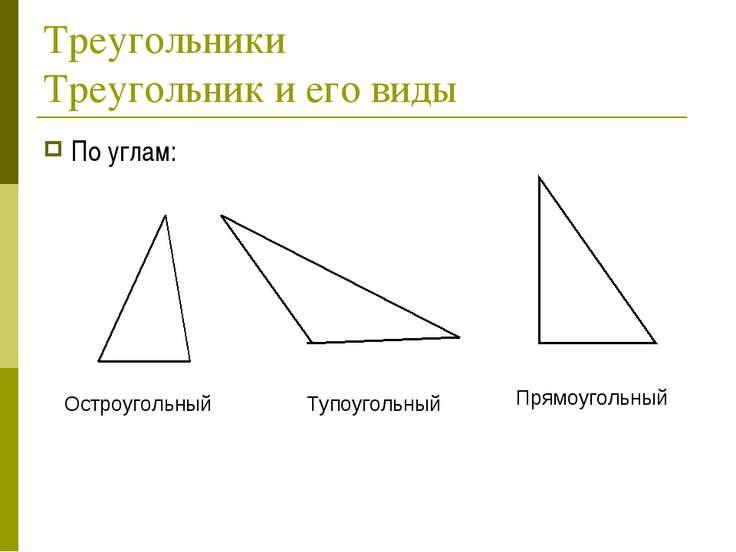 Треугольники Треугольник и его виды По углам: Остроугольный Тупоугольный Прям...