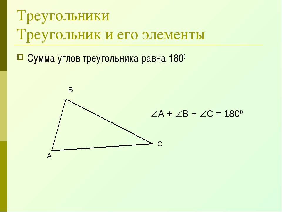 Треугольники Треугольник и его элементы Сумма углов треугольника равна 1800 А...