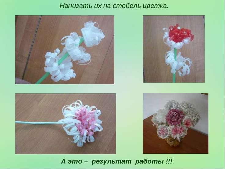 Нанизать их на стебель цветка. А это – результат работы !!!