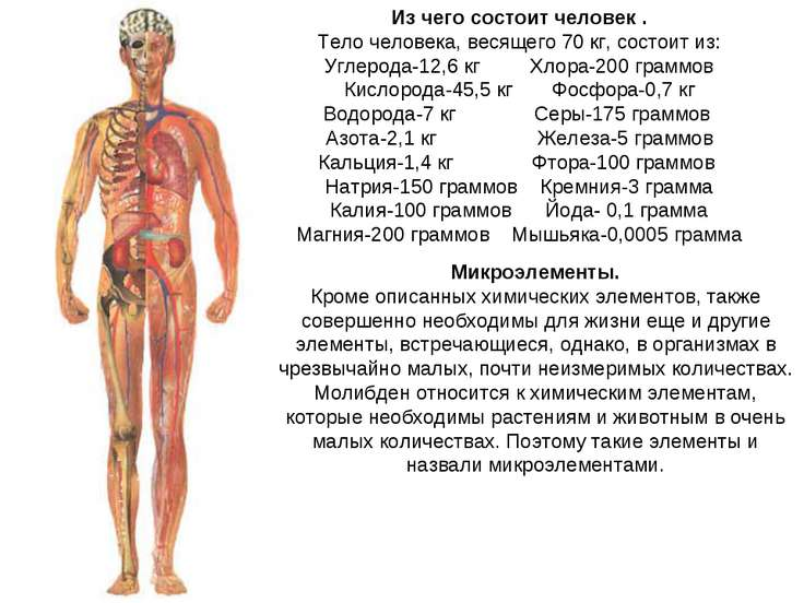 Из чего состоит человек . Тело человека, весящего 70 кг, состоит из: Углерода...