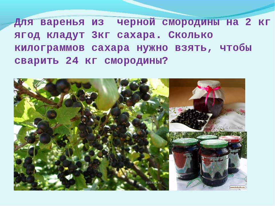 Для варенья из черной смородины на 2 кг ягод кладут 3кг сахара. Сколько килог...