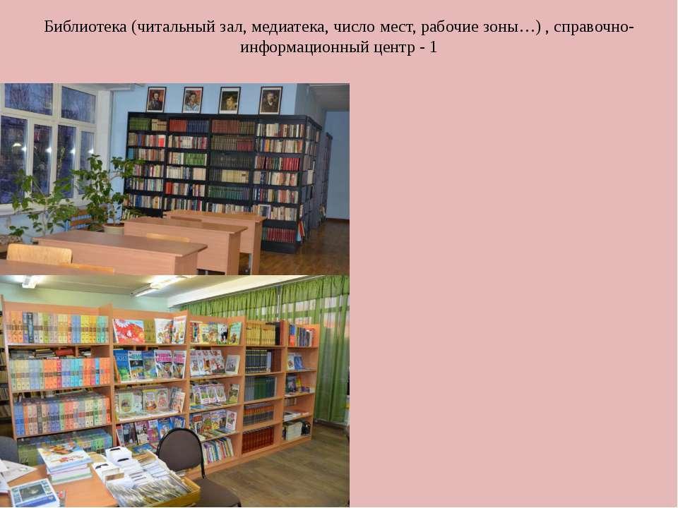 Библиотека (читальный зал, медиатека, число мест, рабочие зоны…) , справочно-...
