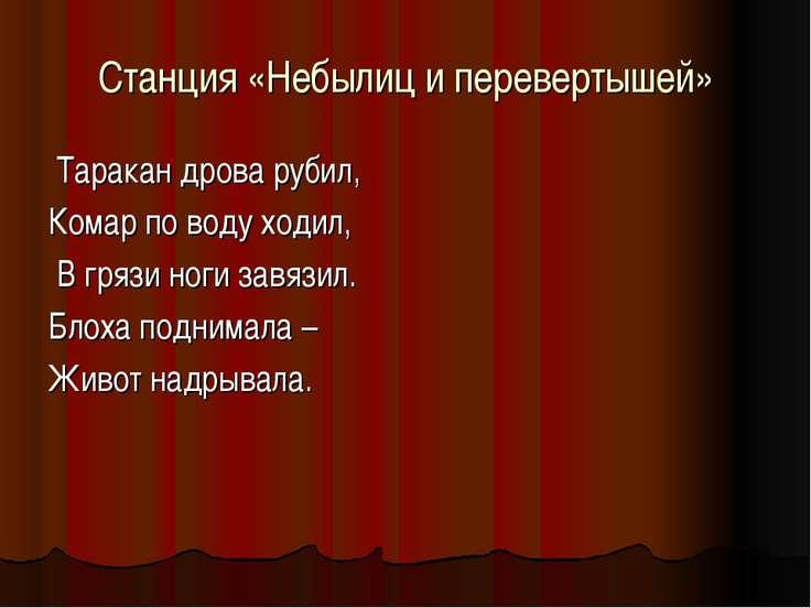Станция «Небылиц и перевертышей» Таракан дрова рубил, Комар по воду ходил, В ...
