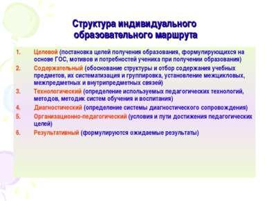 Структура индивидуального образовательного маршрута Целевой (постановка целей...