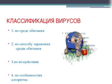 КЛАССИФИКАЦИЯ ВИРУСОВ 1. по среде обитания 2. по способу заражения среды обит...
