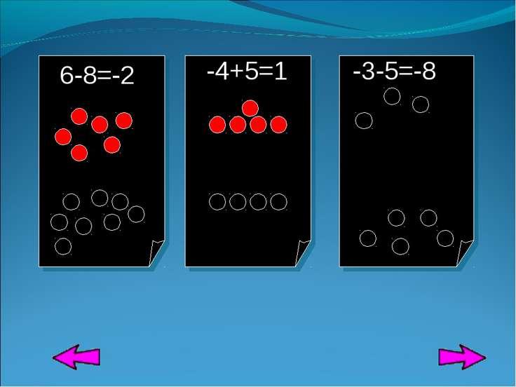 6-8=-2 -4+5=1 -3-5=-8