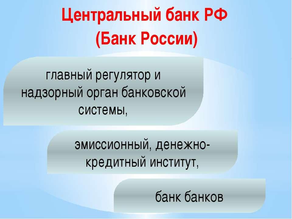 Центральный банк РФ (Банк России) банк банков главный регулятор и надзорный о...