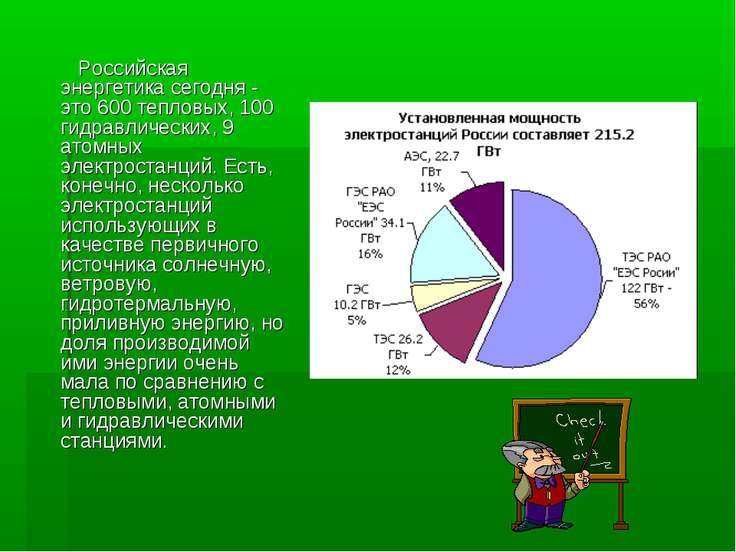 Российская энергетика сегодня - это 600 тепловых, 100 гидравлических, 9 атомн...