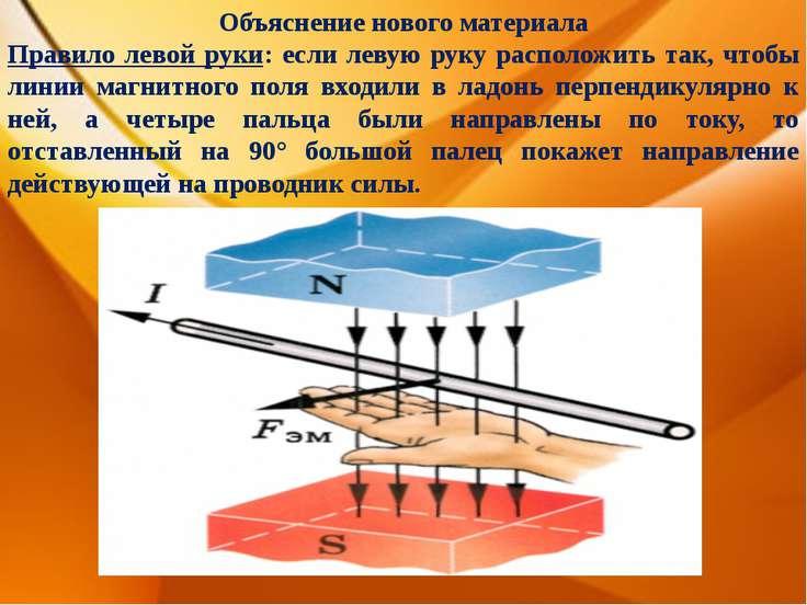Объяснение нового материала Правило левой руки: если левую руку расположить т...