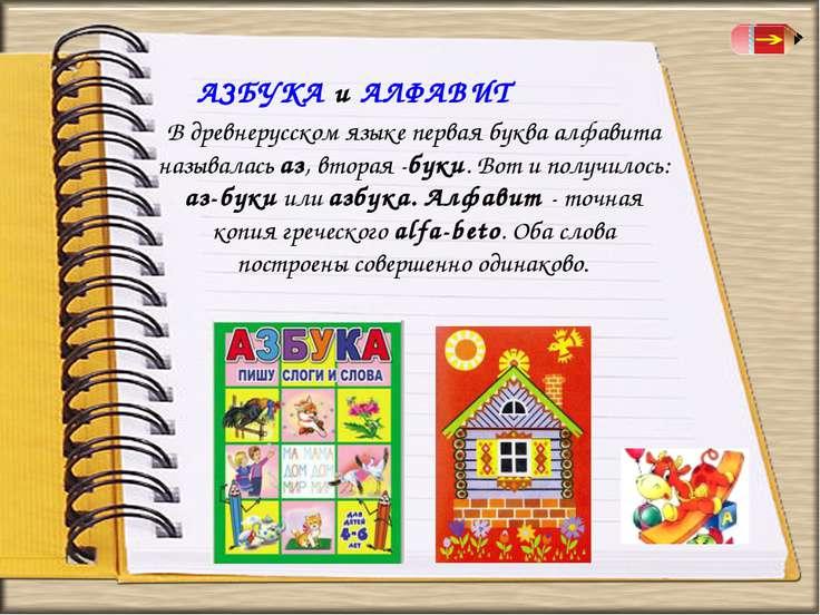 АЗБУКА и АЛФАВИТ В древнерусском языке первая буква алфавита называлась аз, в...