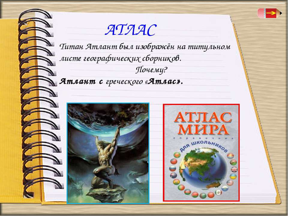АТЛАС Титан Атлант был изображён на титульном листе географических сборников....