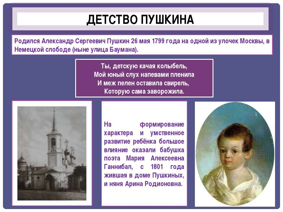ДЕТСТВО ПУШКИНА Родился Александр Сергеевич Пушкин 26 мая 1799 года на одной ...