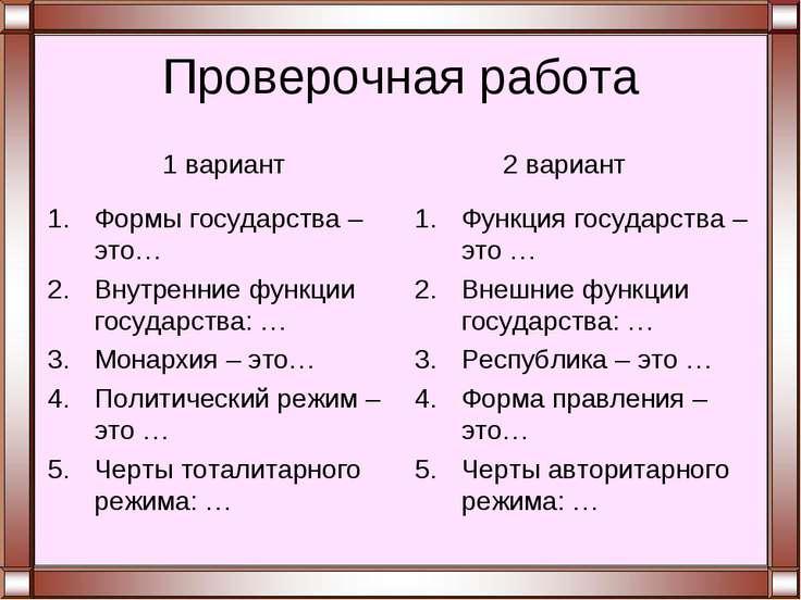 Проверочная работа Формы государства – это… Внутренние функции государства: …...