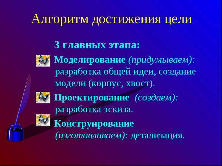 Алгоритм достижения цели 3 главных этапа: Моделирование (придумываем): разраб...
